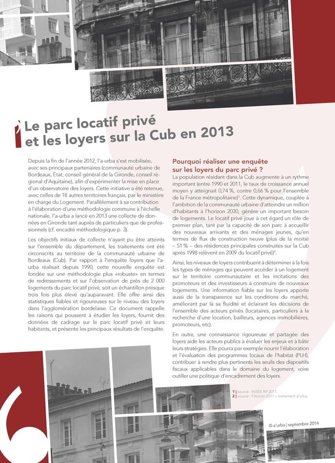 Le parc locatif priv et les loyers sur la cub en 2013 a for Agence urbanisme paysage bordeaux