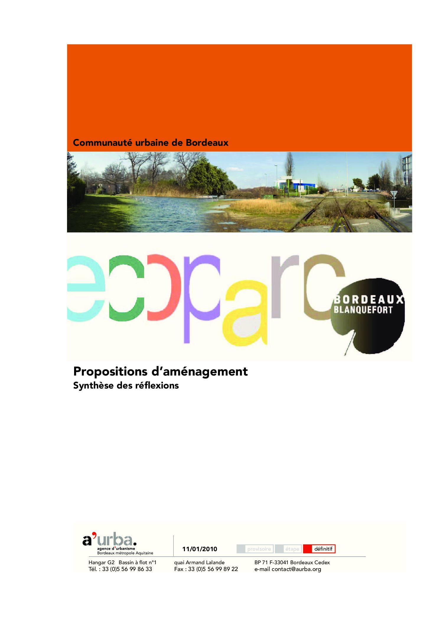 Ecoparc propositions d 39 am nagement a 39 urba agence d for Agence urbanisme paysage bordeaux