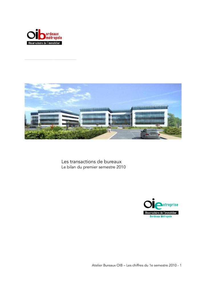 Les transactions de bureaux a 39 urba agence d 39 urbanisme for Agence urbanisme paysage bordeaux