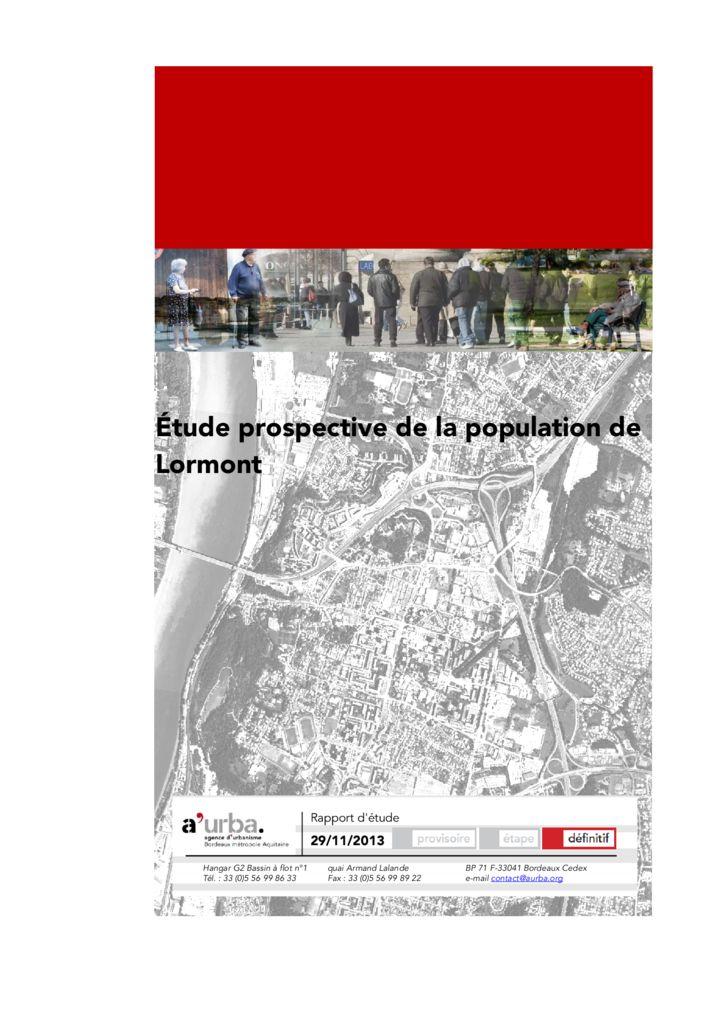 Tude prospective de la population de lormont a 39 urba for Agence urbanisme paysage bordeaux